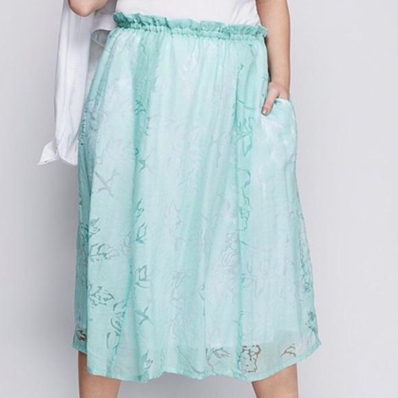 Lane Bryant Dresses & Skirts - Lane Bryant Skirt Plus 18 20 Mint Green Crinkle